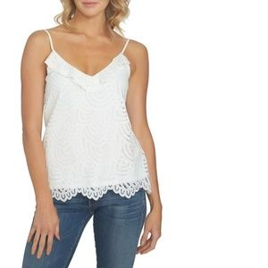 1.State Crochet Lace Ruffle Camisole Top Ivory XS